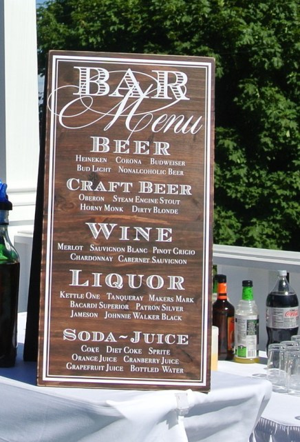 bar menu sign